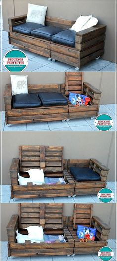 Pallet Outdoor Furniture The reshaping wood pallet ideas with the storage option are the best because they help in avoiding the mess in a room, this idea is a combination as it serves as a couch on wheels as well as allows storing the items. Wooden Pallet Projects, Wooden Pallet Furniture, Pallet Crafts, Wooden Pallets, Pallet Ideas, Pallet Sofa, Pallet Designs, Wooden Couch, Diy Crafts