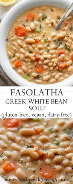 Greek white bean soup with garlic & lemon - real Greek recipes # stew # e . - Greek white bean soup with garlic & lemon – real Greek recipes …, soup - Feta, Healthy Dinner Recipes, Cooking Recipes, Budget Recipes, Winter Dinner Recipes, Recipes With Beans Healthy, Health Soup Recipes, Recipes With Lemon, Simple Soup Recipes