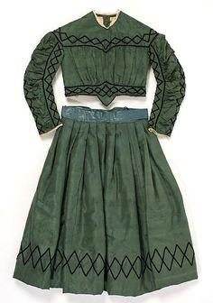 Girl's Green Dress with Black Trim, circa 1863-65 | #Victorian #1860s