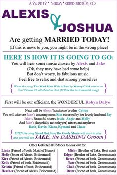 I really want a unique program like this to explain all the quirky touches we'll have incorporated into our ceremony!