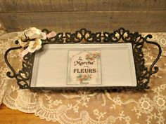 Metal French Tray - Vanity Tray - Hand Painted - French Graphic - Decoupaged Flowers - Black Metal Altered Tray by EdenCoveTreasures on Etsy