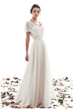 Simple Cheap Wedding Dress With Short Sleeves A-Line Lace-Up Vintage Boho Weddin., Simple Cheap Wedding Dress With Short Sleeves A-Line Lace-Up Vintage Boho Wedding Dress 2018 Summer Beach Wedding Dresses Chiffon From Remotemoon with. Wedding Dress Chiffon, Wedding Dress Tea Length, Wedding Dresses 2018, Cheap Wedding Dress, Bridal Dresses, Short Sleeved Wedding Dress, Prom Dresses, Sexy Dresses, Lace Wedding