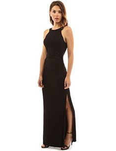 PattyBoutik Womens Crewneck Halter Side Slit Maxi Dress Black XL -- For more information, visit image link. (This is an affiliate link) Side Slit Maxi Dress, Casual Dresses For Teens, Classy Dress, Clothes For Women, Dress Black, Halter Dresses, Women's Dresses, Party Dresses, Fashion Dresses