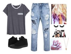"""""""mamma told me not to waste my life she said spread your wings my little butterfly"""" by brynlieboo ❤ liked on Polyvore featuring H&M, Converse, Laura Geller and Pamela Love"""