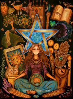 Art by Artist Holly Sierra.'Call Upon the Goddess and God to Protect You and Teach You the Secrets of Magick. Ask Stones and Plants to Reveal Their Powers and Listen.' ~ by Scott Cunningham - Another Founding Father of the Craft of the Wise. Psychedelic Art, Pagan Art, Goddess Art, Egyptian Goddess, Witch Art, Gods And Goddesses, Book Of Shadows, Occult, Magick