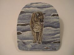 Cougar hand painted on slate by Ann Kelly