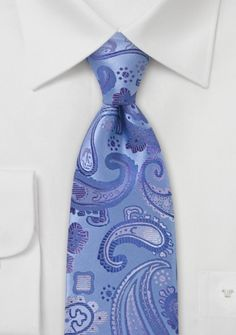 Krawatte Paisleymuster eisblau rosé