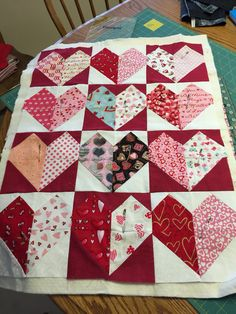 Heart to heart quilt. My variation from Missouri star quilt company.