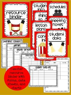 teacher resource binder with a cute movie/hollywood theme!  classroom forms, data sheets, charts, lesson planning sheets, and much more!