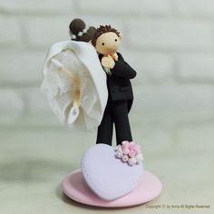 Pares lindos de la boda de la torta Deco Regalo del recuerdo de annacrafts