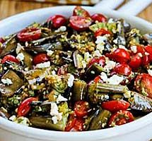 Recipe for Grilled Eggplant, Grape Tomato, and Feta Salad with Amazing Basil, Parsley, and Caper Sauce Eggplant Salad, Grilled Eggplant, Grape Recipes, Feta Salad, Kung Pao Chicken, Cherry Tomatoes, Grilling, Salads, Fresh