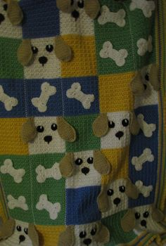 Dogs and Bones Heirloom Crochet Blanket by CrochetAwayNEPA on Etsy, $115.00