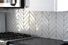 Kiln Ceramic Chevron Subway Tile White Milk Kitchen Backsplash Installation Close-up Kitchen Colors, Kitchen Backsplash, Kitchen Countertops, Backsplash Ideas, Kitchen Flooring, Black Backsplash, Kitchen Layout, Kitchen Cabinets, Rustic Kitchen