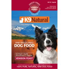 K9 Natural Freeze Dried Venison Feast Dog Food 1.1 lb #421900779161 K9 Natural Freeze Dried is made with 85% meat, bone, blood, tripe, liver, kidney and heart plus vegetables, fruit, egg and garlic. K9 Natural is a nutritionally sound and species appropriate diet which can therefore be fed to dogs at any stage of life: from puppies to seniors, during pregnancy and lactation. It is also suitable for any breed of dog, from toy to giant.