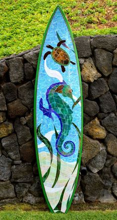 My latest project - Stained glass mosaic surfboard Mosaic Diy, Mosaic Crafts, Mosaic Projects, Mosaic Glass, Mosaic Tiles, Stained Glass, Glass Art, Mosaic Designs, Mosaic Patterns