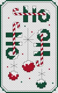 Christmas theme pattern with Christmas decorations and the laughter of Santa Claus:Ho-Ho-Ho