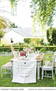 Personalised table runner | Outdoor table setting | Photographer: Adene Photography, Flowers, Decor and Styling: Anli Wahl, Venue: Mildie Malan Garden
