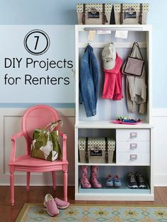 7 DIY Projects for Renters, mudroom, shelf turned into bench, dresser turned into 3 laundry basket storage, outdoor privacy screen, fold down drying rack.