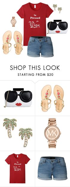 """""""So Pressed for Wine- Casually Chic"""" by fashionforwardtoday on Polyvore featuring Alice + Olivia, Lilly Pulitzer, Kate Spade, Michael Kors and LE3NO #wine #casual #spfw #shirts"""