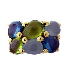 New Pomellato 18k gold aquamarine topaz peridot ring from Sassi collection. DESIGNER: Pomellato MATERIAL: 18K Gold GEMSTONE: Topaz, Aquamarine, Peridot RING: STYLE Ring DIMENSIONS: Ring size 6, ring i