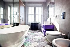 Contemporary Bathroom - these floor tiles are absolutely fantastic and I love the blend of modern and vintage - a la the steam radiator-really fabulous!