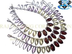 Multi Faceted Marquise (Quality AAA) (Crystal Amethyst Lemon Garnet) Shape: Marquise Faceted Length: 18 cm Weight Approx: 8 to 10 Grms. Size Approx: 5x12 to 6.5x14 mm Price $34.80 Each Strand