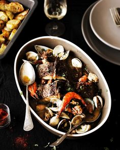 portuguese roasted cod with shellfish (bacalhau assado com marisco)