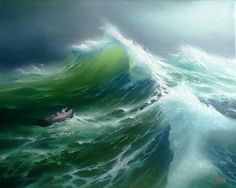 sea painting Ideas For Painting Sea Storm Ocean Ocean Wave Painting, Boat Painting, Ocean Art, Ship Paintings, Seascape Paintings, Landscape Paintings, No Wave, Stürmische See, Sea Storm