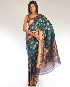 Aubergine and Teal Checkered Design Sari with Zari Floral Motifs - Exclusively In
