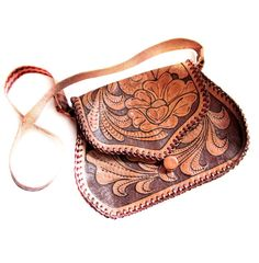 Vintage Hand Tooled Leather Floral Handbag Purse