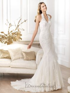 Exquisite Halter Neck Mermaid Wedding Dresses Featuring Applique