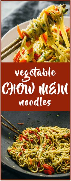 This is my family's recipe for vegetable chow mein noodles, which includes cabbage, carrots, zucchini, red bell pepper, and soy sauce. It's a healthy stir-fry as well as an easy weeknight dinner. via @savory_tooth