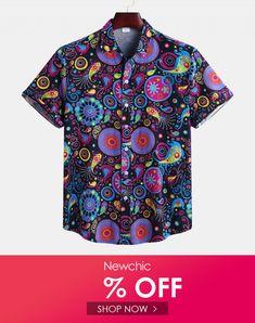 YUNY Mens Long Sleeve Casual Turn-Down Collar Print Pattern Western Shirt Black XL