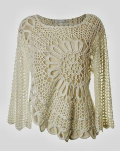 How to make a beautiful crochet-pattern blouse step by step ~ Crochet magazines
