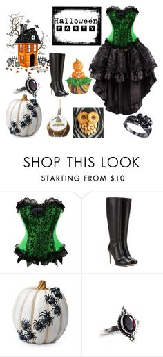 """""""Halloween Part"""" by oliviaboston ❤ liked on Polyvore featuring Jimmy Choo, Improvements, BlackMoon and Halloweenparty"""