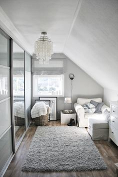 "Goood use of a small room. I like that it's not overdone. Gray and white closet inspiration. Ikea Chair ""Ektorp"" Ike apax wardrobe with sliding doors."