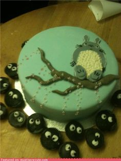 Totoro cake with Soot Sprite cupcakes: For Ryan's birthday.  He'll love it!