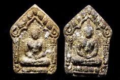One Pair of Old LP TIM  Dry Powder Thai Buddha Amulet GV07 Small Takrut Buddhas