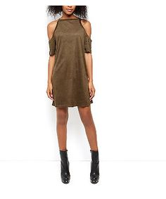 AX Paris Khaki Suedette Cold Shoulder Dress | New Look
