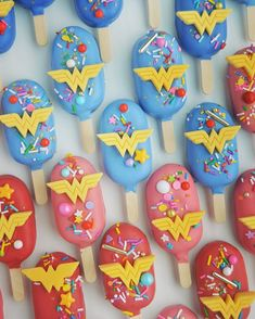 Wonder Woman birthday cake cookie dough pops for