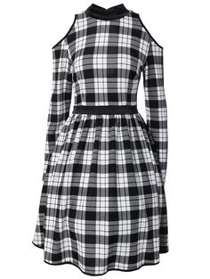 Checked Back Cutout Cold Shoulder Dress (PLAID,M) | Sammydress.com