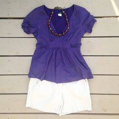 J. Crew purple top with white polka dots Cute j. Crew top with side zipper and tie around waist. Good condition. Reasonable offers always considered! J. Crew Tops Blouses