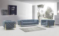 Deluxe Dark Grey Velvet Tufted Sofa Set 3 VIG Divani Casa Sheila Contemporary