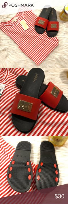 Nicole Miller Red Sandals These are new, never worn them. Super nice red color. 8M size. New with out tags. Nicole Miller Shoes Sandals