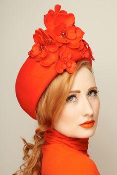 Jacki - fur felt flower turban www.glamoroushats.com  photo by Joanna Koralewska model Millicent Binks