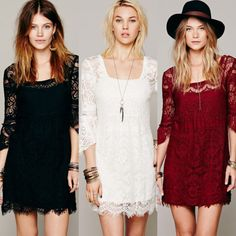 New-Style-Charm-Womens-Floral-Lace-Crochet-Prom-Casual-Career-Party-Beach-Dress