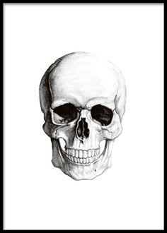 Affisch med tecknad döskalle, kranium.