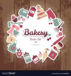 Stock Images similar to ID 131212718 - sweet recipe vector card. Candy Logo, Flour Bakery, Cake Logo Design, Bakery Packaging, Hotel Logo, Food Stickers, Recipe Scrapbook, Instagram Frame, Bakery Logo