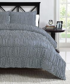 Gray Polka Dot Ruched Reversible Comforter Set