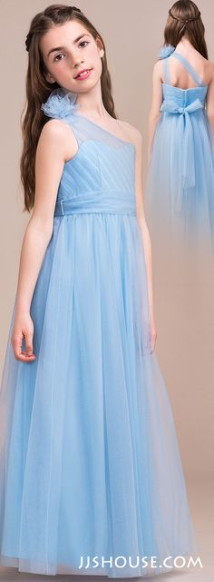 Comfortable, stylish and chic, your junior bridesmaids will look amazing in this long tulle dress! #jjshouse